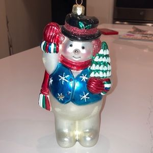 VTG Santa's Best Glass Snowman Ornament